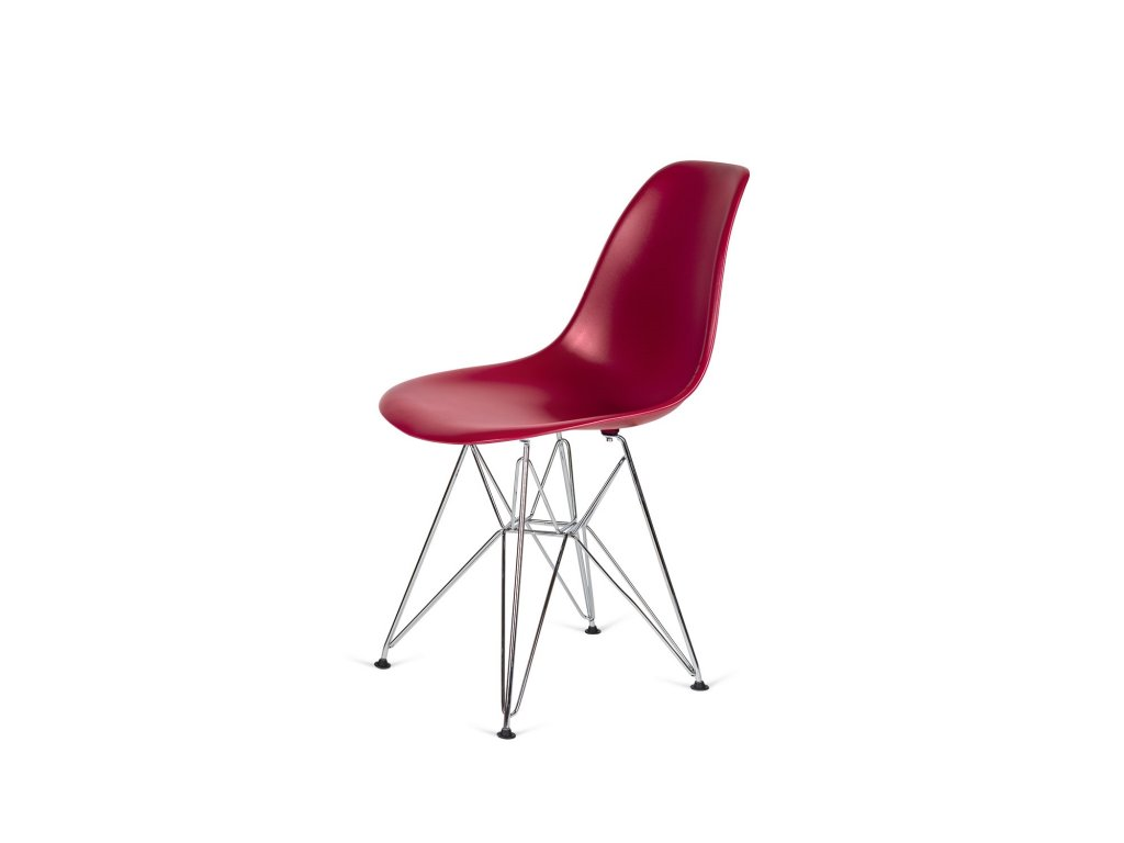 Židle 130-DPP bordová #36 PP + nohy chromové