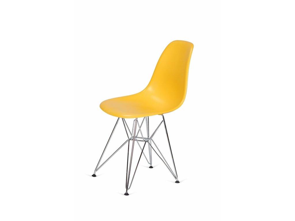 Židle 130-DPP kanárková #30 PP + nohy chromové