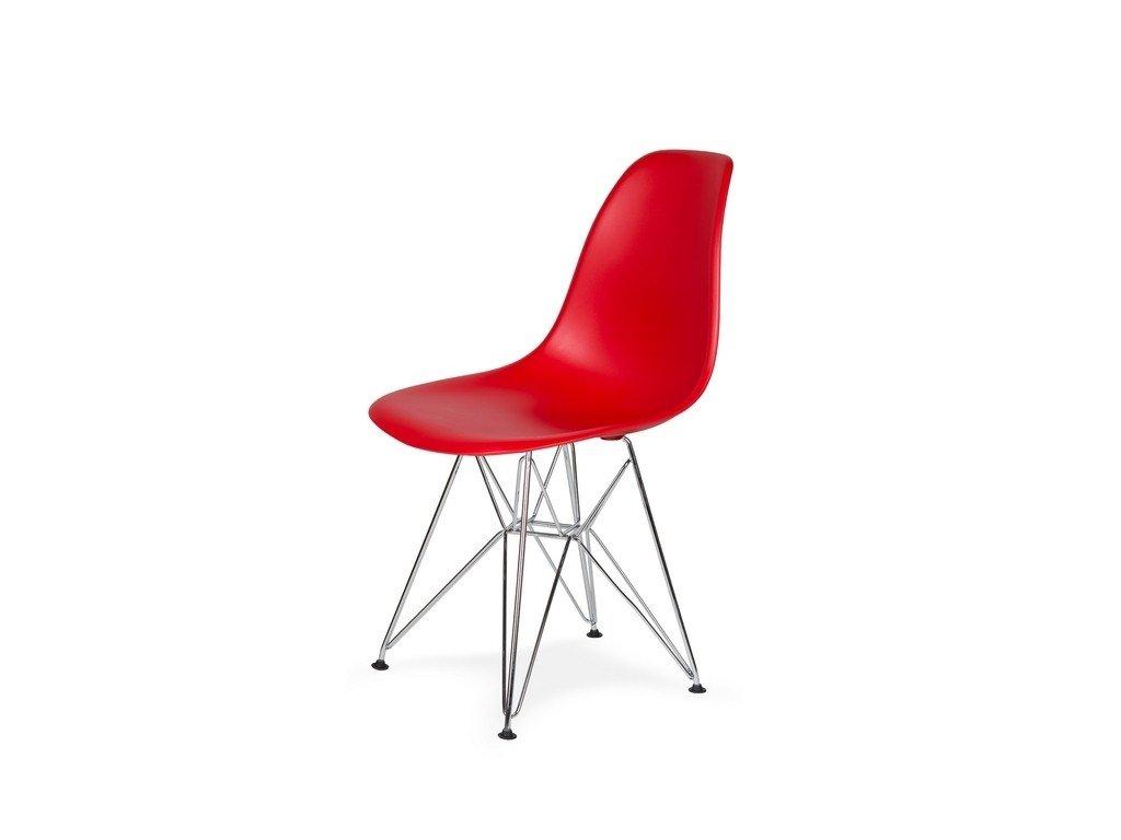 Židle 130-DPP krvavě červená #06 PP + nohy chromové
