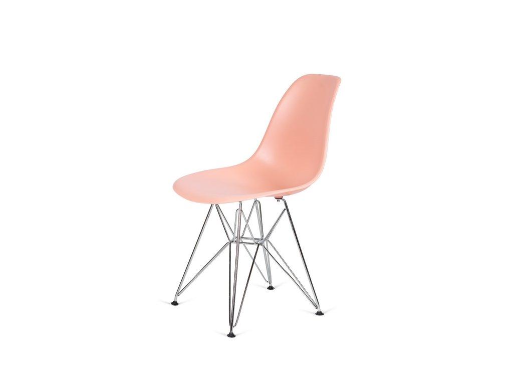 Židle 130-DPP losos #35 PP + nohy chromové