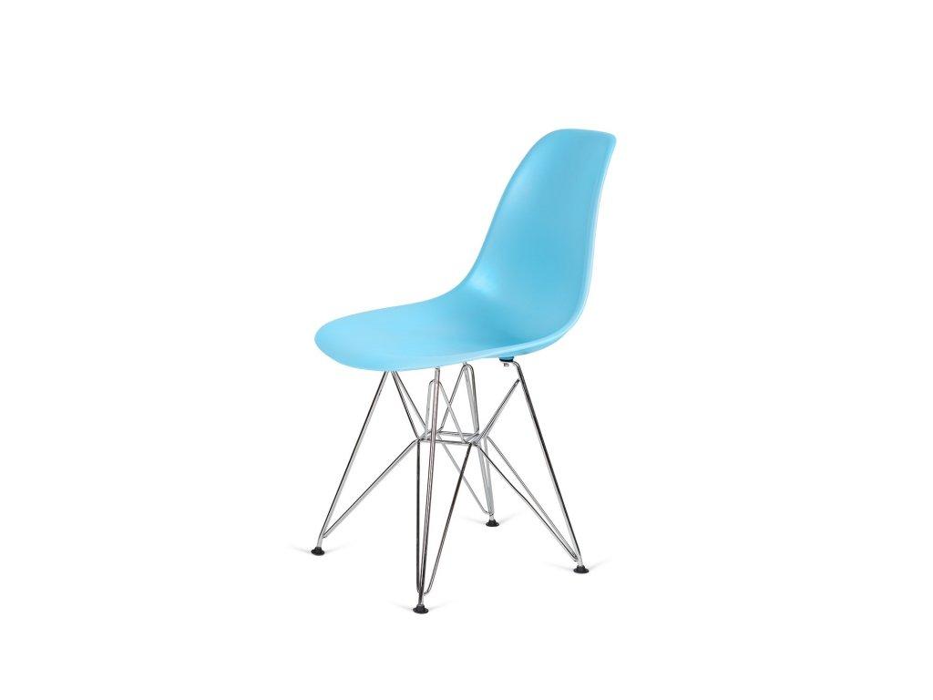 Židle 130-DPP oceán modrá #25 PP + nohy chromové
