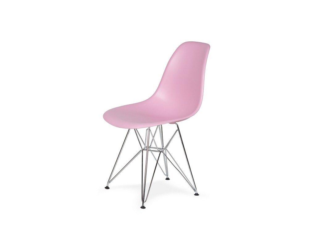 Židle 130-DPP pastelový roz #07 PP + nohy chromové