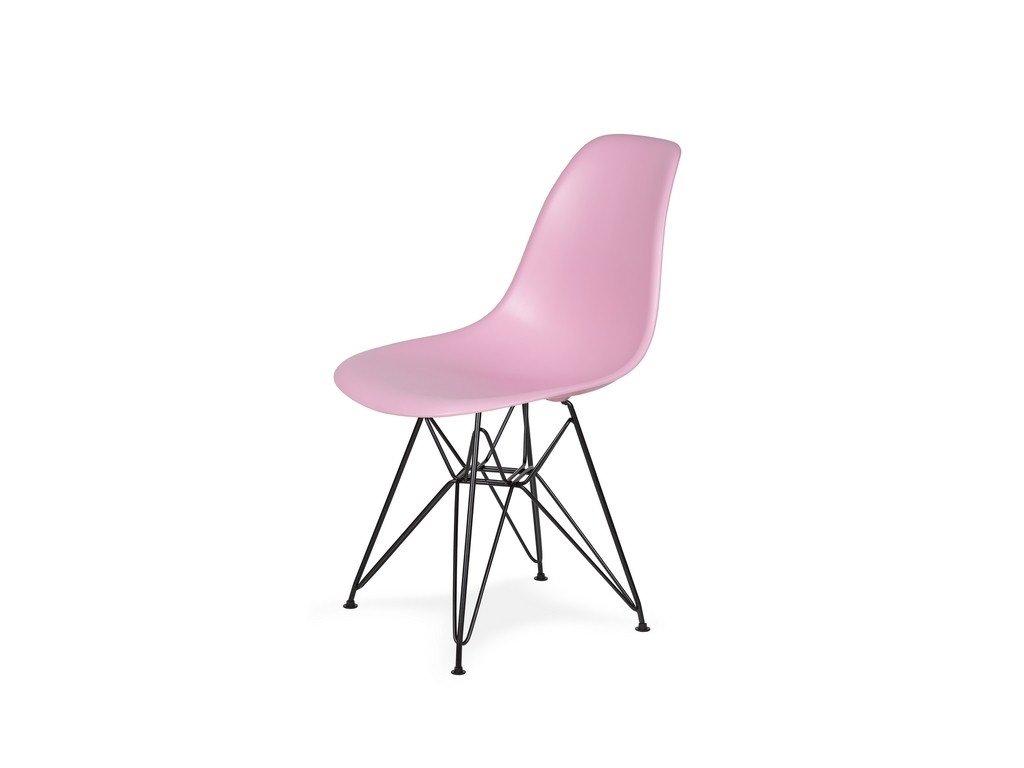 Židle 130-DPP pastelový roz #07 PP + nohy kovové černá