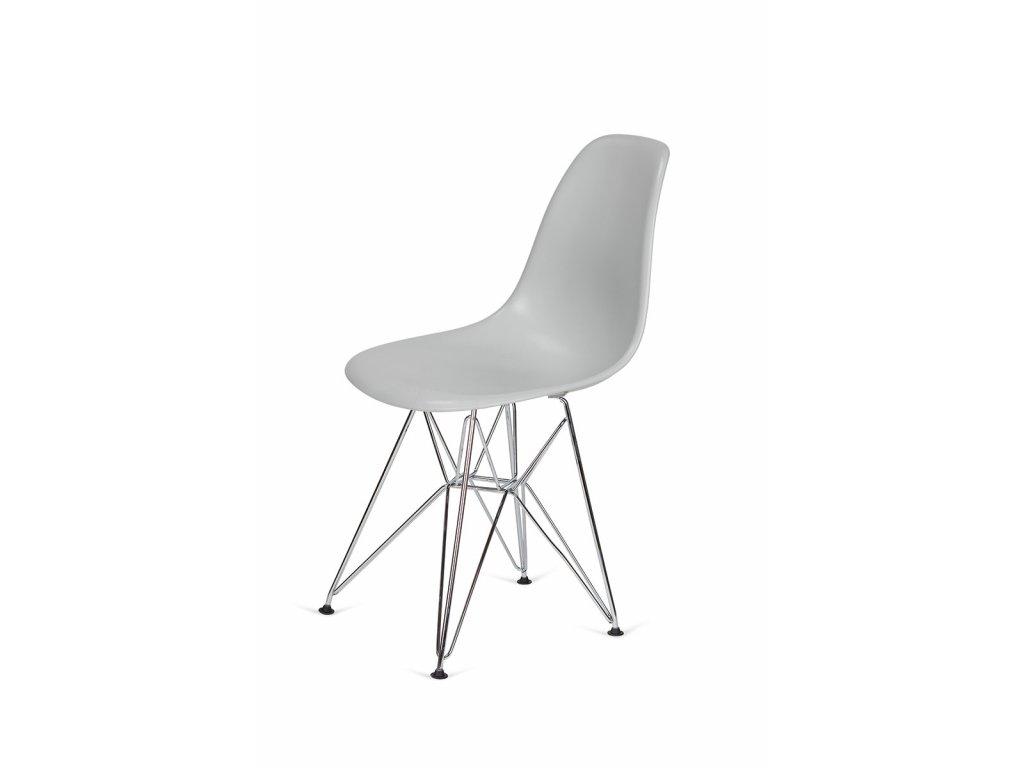 Židle 130-DPP platinová #28 abs + nohy chromové