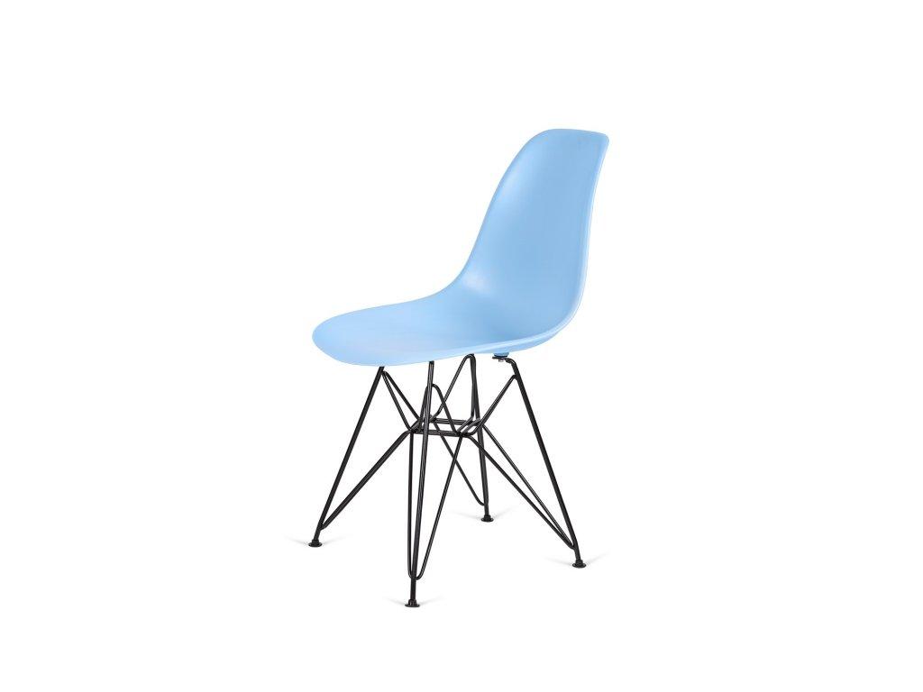 Židle 130-DPP světle modrá #12 PP + nohy kovové černá