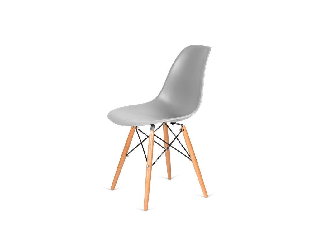 Židle 130-DPP světle šedá #05 PP + nohy bukové