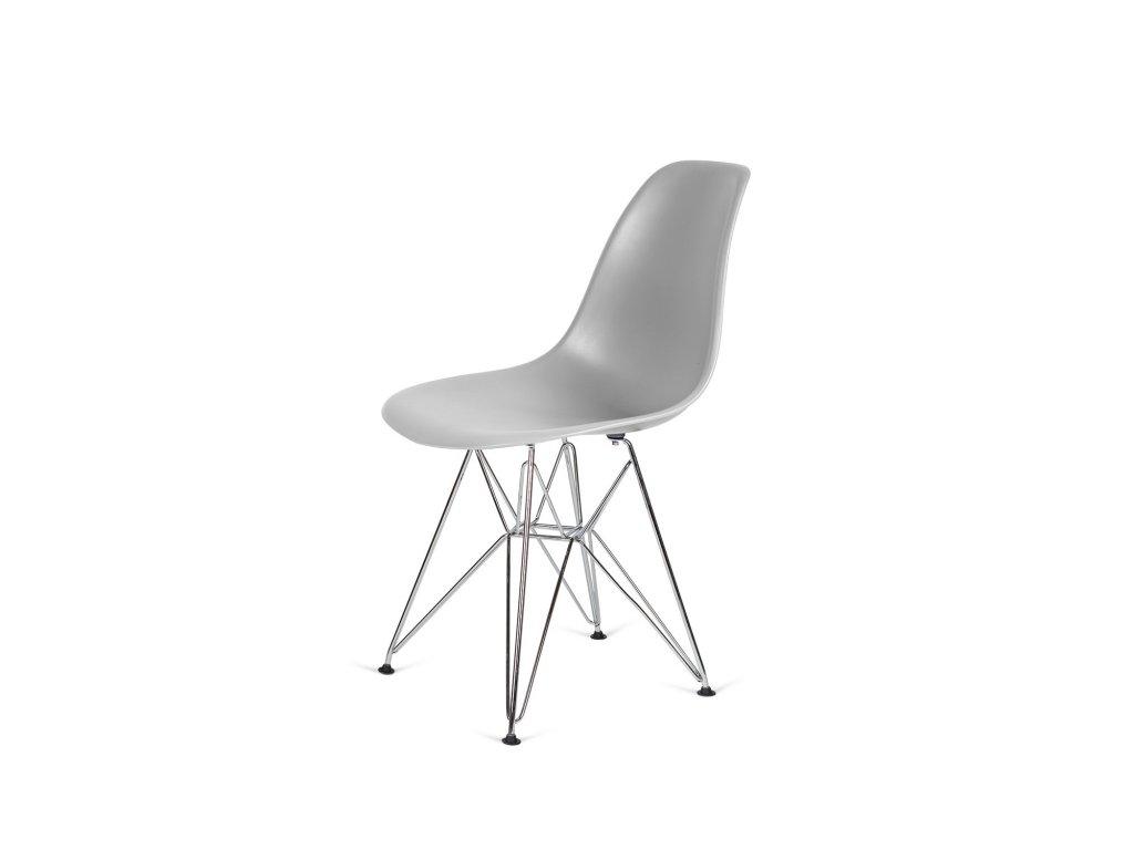 Židle 130-DPP světle šedá #05 PP + nohy chromové
