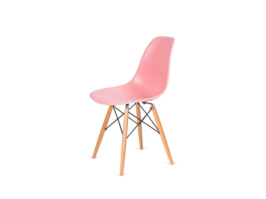 Židle 130-DPP světlá broskev #34 PP + nohy bukové