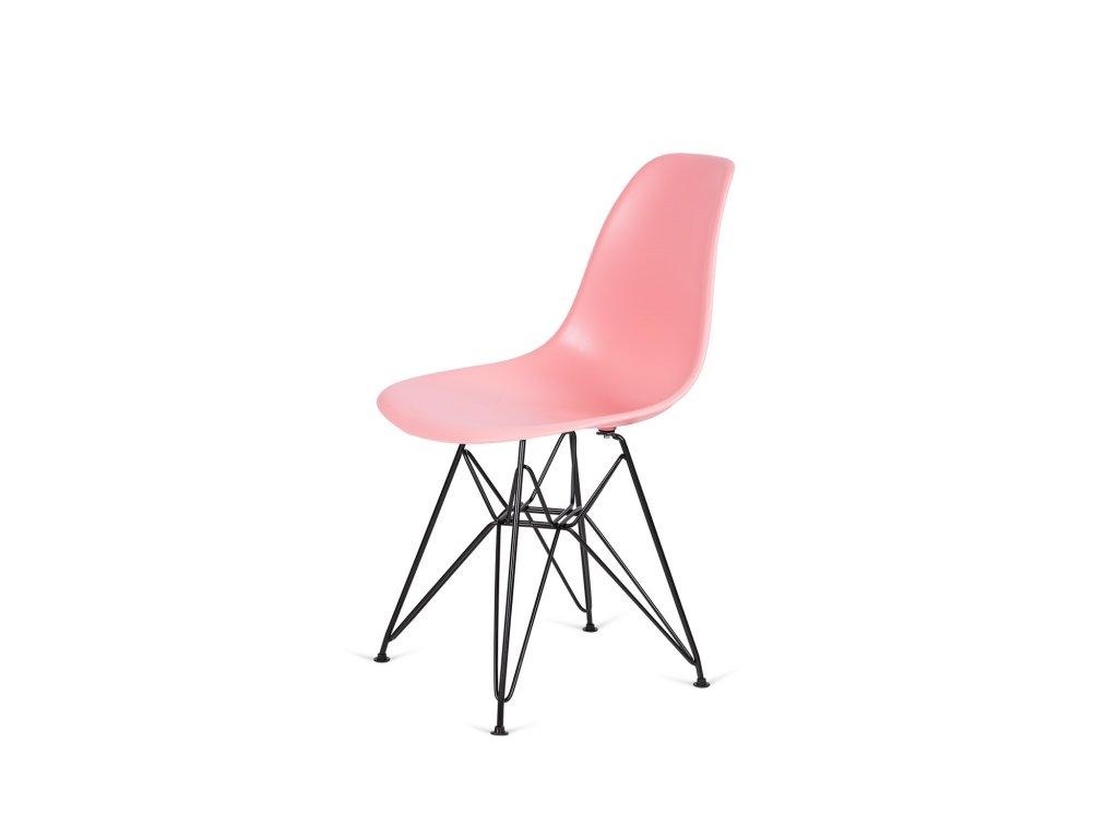 Židle 130-DPP světlá broskev #34 PP + nohy kovové černá