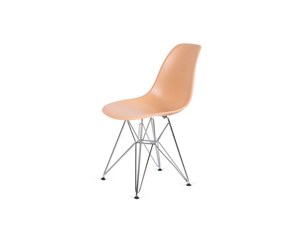 Židle 130-DPP teplý krém #32 PP + nohy chromové