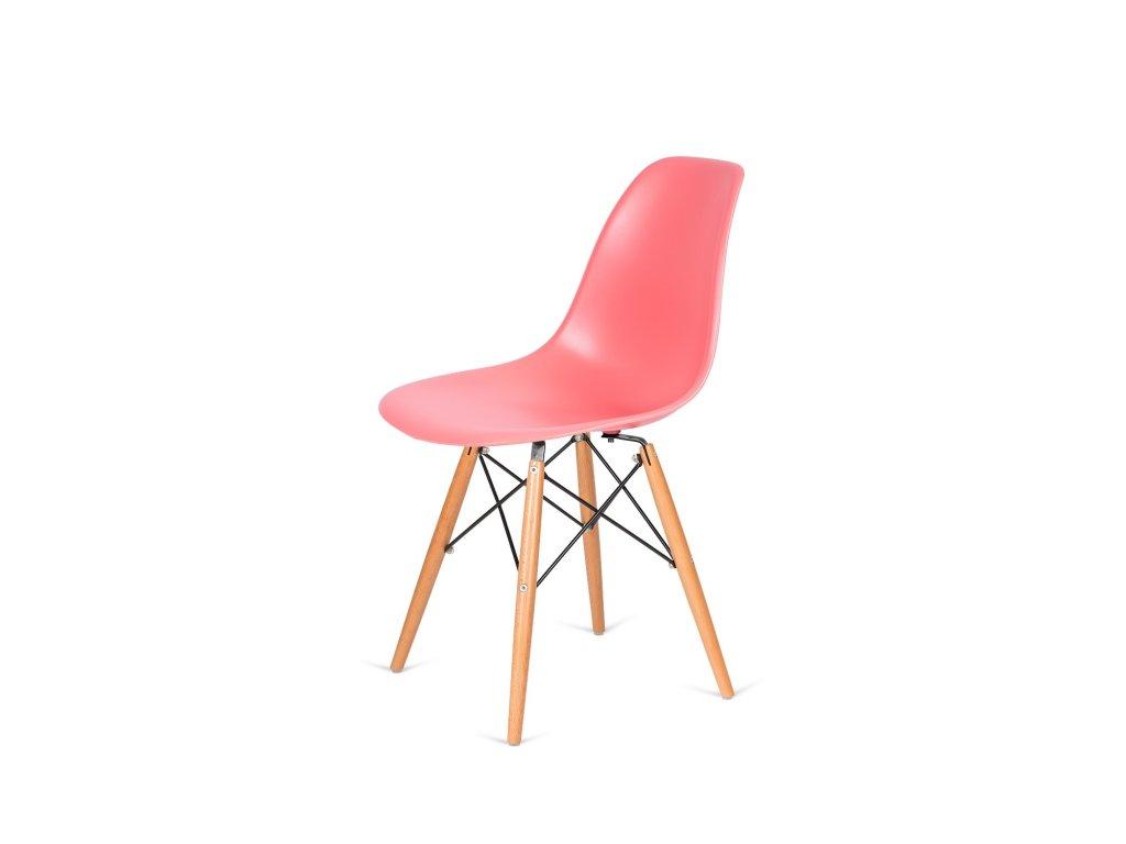 Židle 130-DPP tmavá broskev #33 PP + nohy bukové