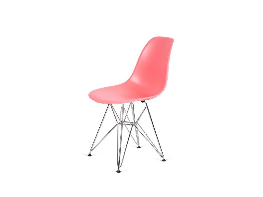 Židle 130-DPP tmavá broskev #33 PP + nohy chromové