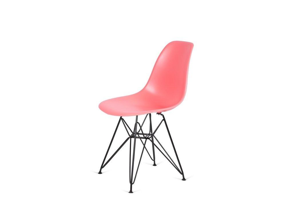 Židle 130-DPP tmavá broskev #33 PP + nohy kovové černá