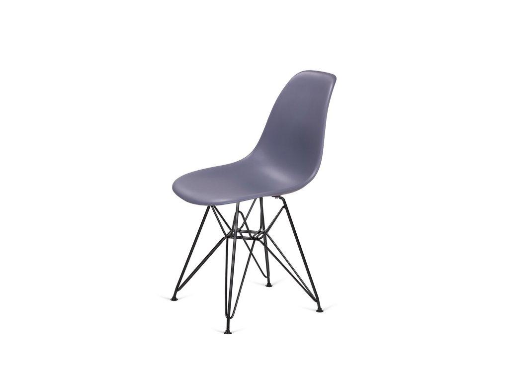Židle 130-DPP tmavě šedá #04 PP + nohy kovové černá