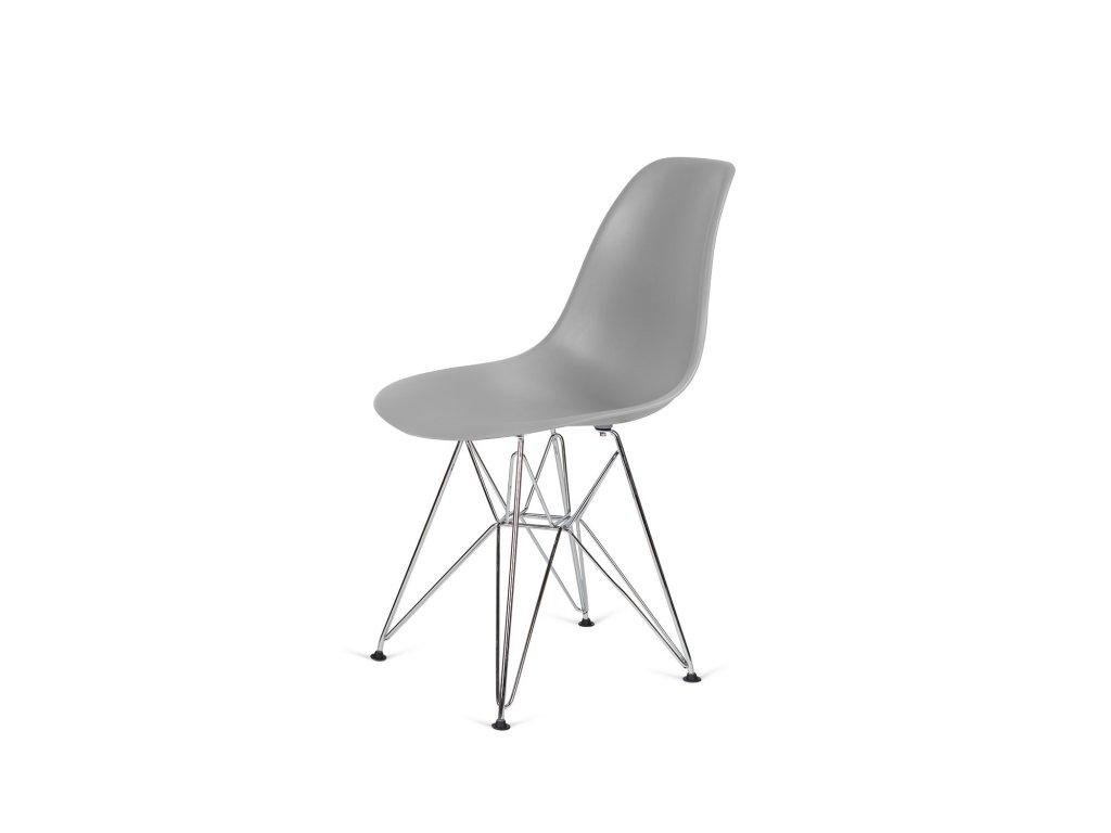Židle 130-DPP šedá #30 PP + nohy chromové