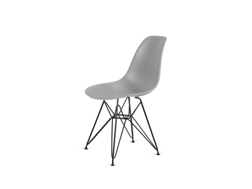 Židle 130-DPP šedá #30 PP + nohy kovové černá