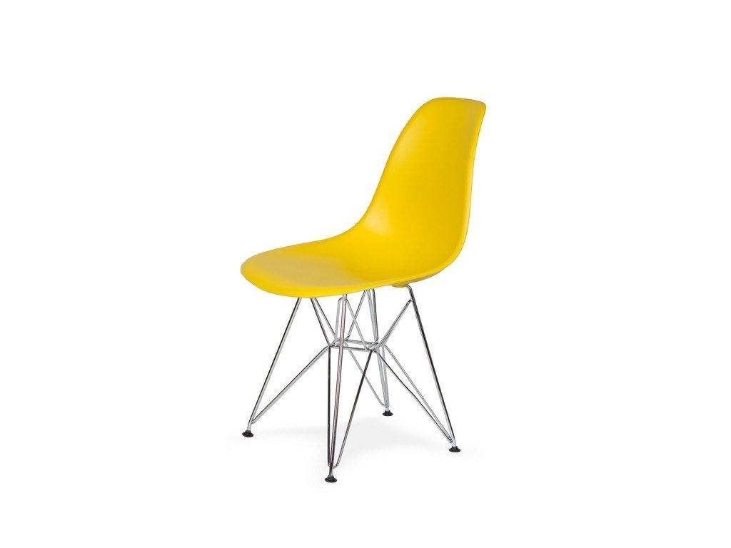 Židle 130-DPP žlutá sluneční #09 PP + nohy chromové