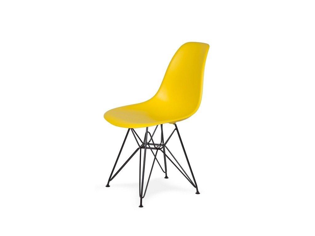 Židle 130-DPP žlutá sluneční #09 PP + nohy kovové černá
