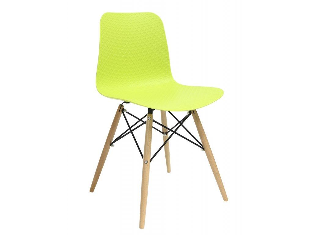 Židle KRADO dsw zelená polypropylen + nohy bukové