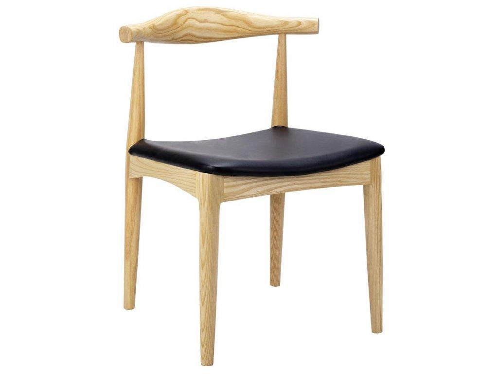 Židle GOMIT přírodní - dřevo jasan, koženka