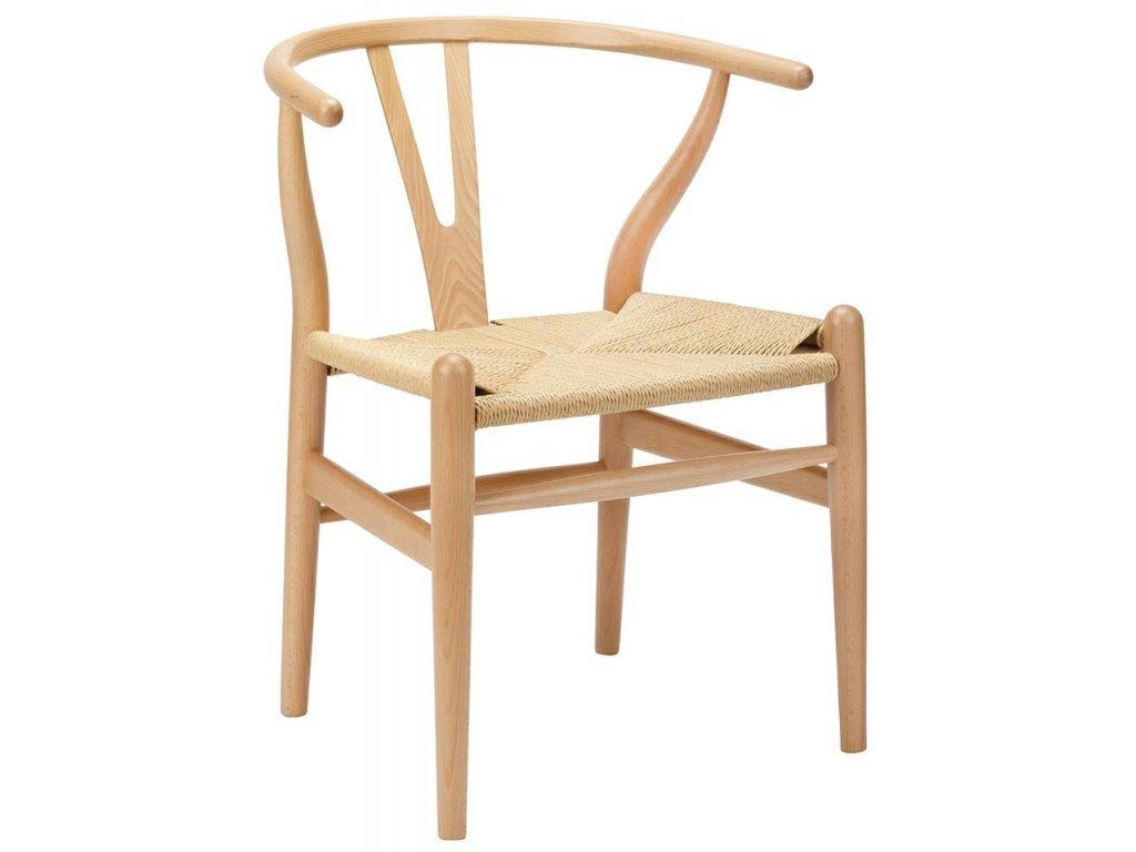 Židle VIDE přírodní - dřevo bukové, přírodní vlákno