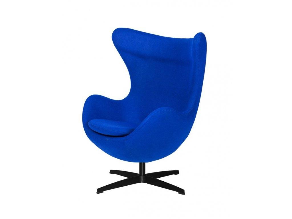 Křeslo EGG inkoustové modré.29 - vlna, základ černý