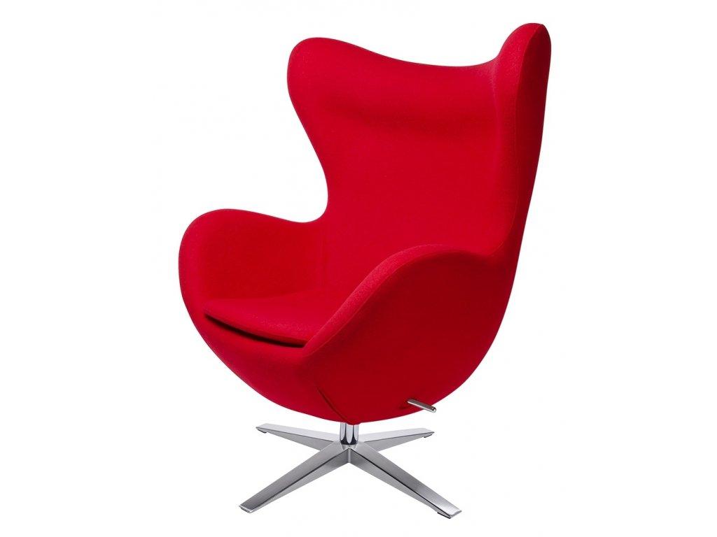 Křeslo EGG široké červené.1 - vlna kašmírová, základ ocel