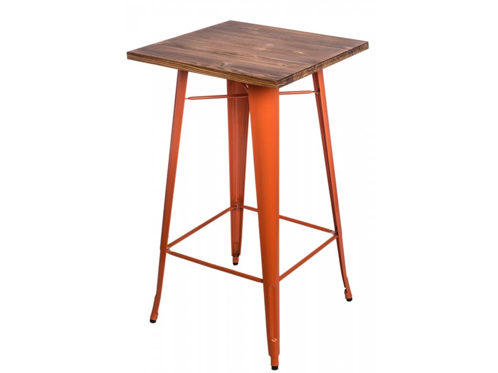 Stůl barový PARIS WOOD oranžový sosna