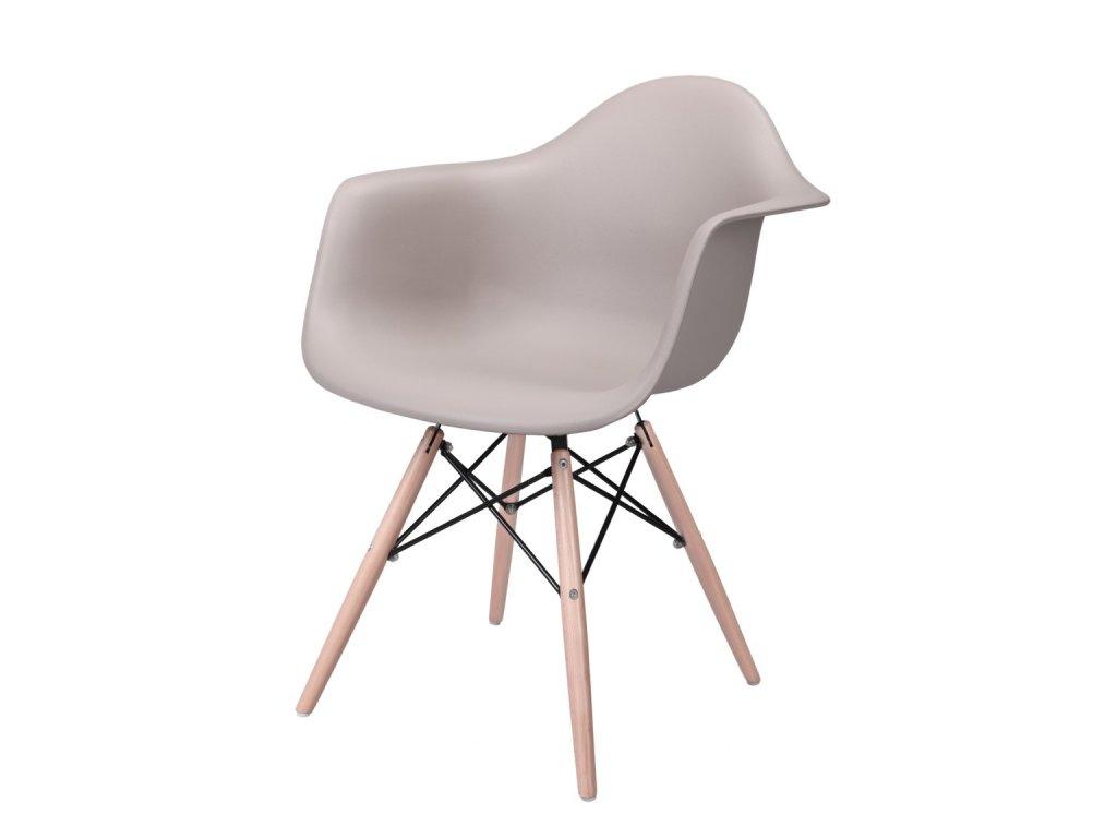 Židle P018V PP mírně šedá, dřevěné nohy