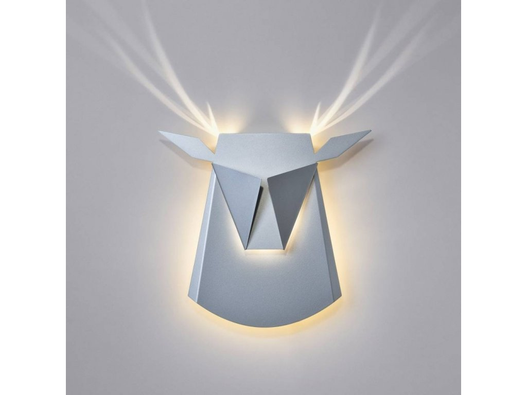 Nástěnná lampa JELEN šedá - uhlíková ocel