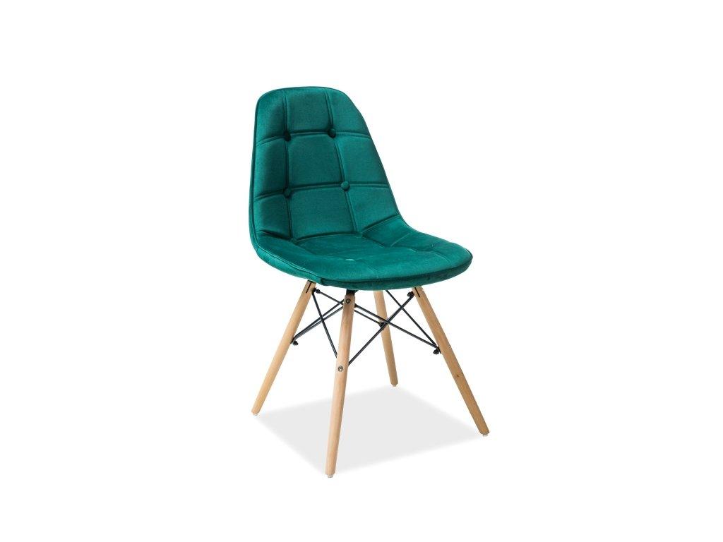 Židle AXEL III buk/zelená samet polstrování č.89