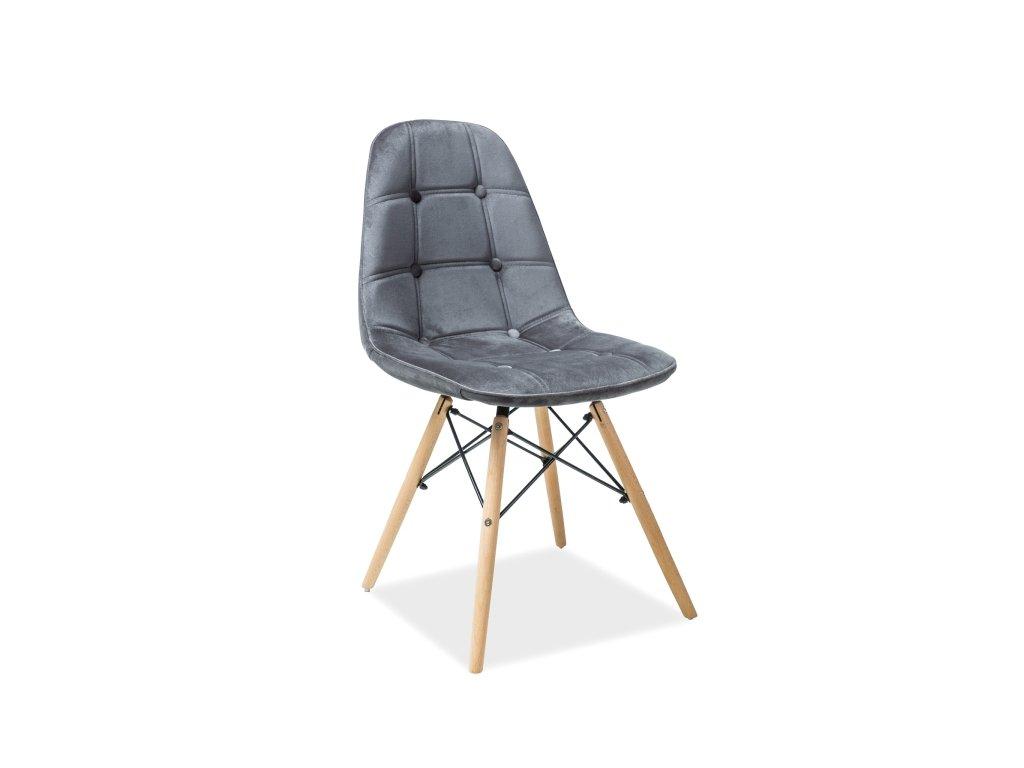 Židle AXEL III buk/šedá samet polstrování č.72