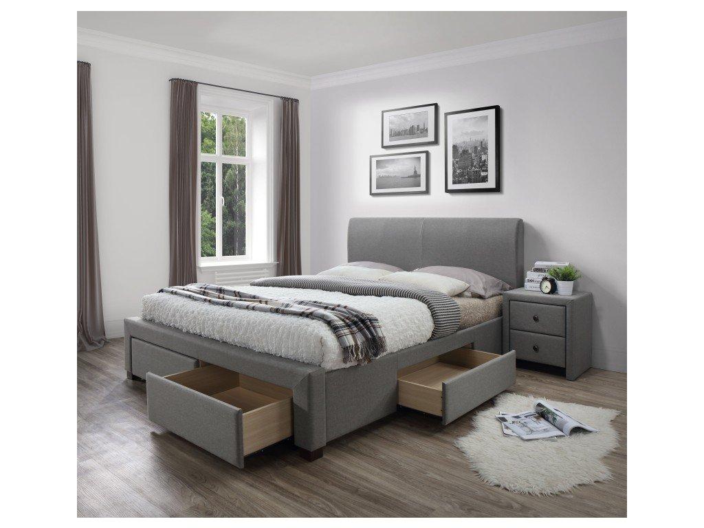 MODENA 140 cm postel čalouněné se zásuvkami šedá