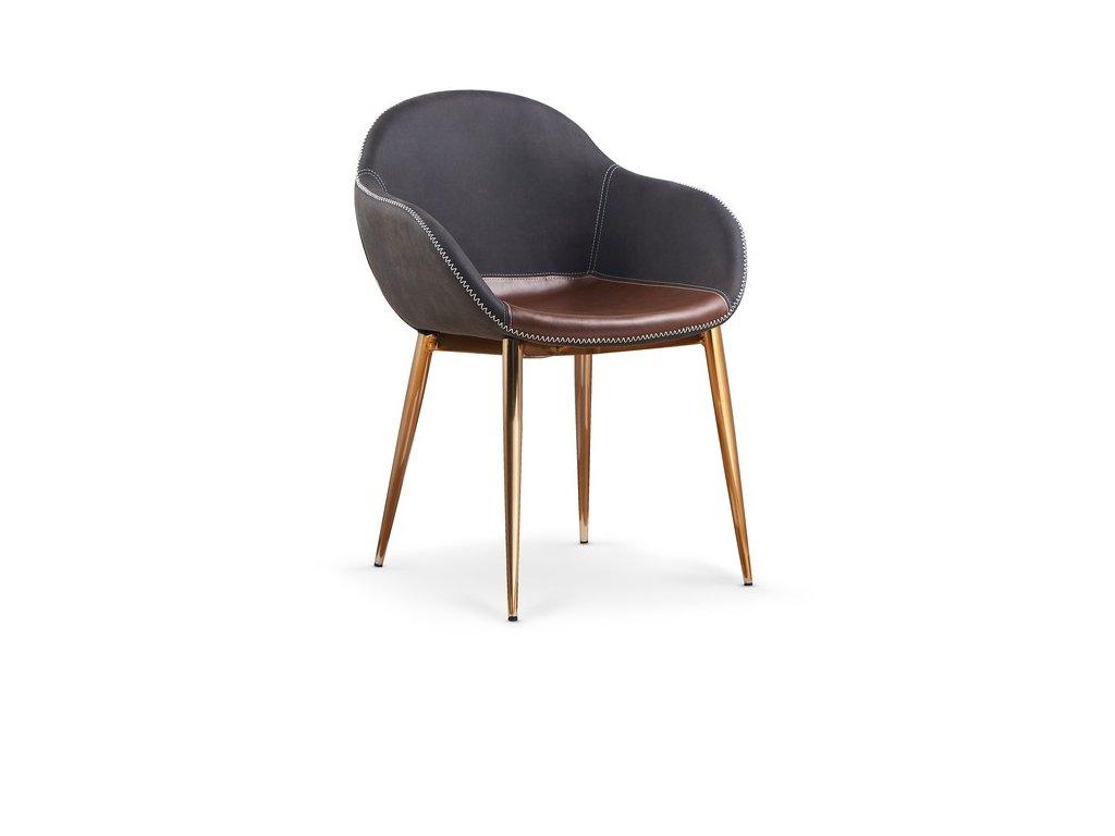 K304 židle tmavě šedá / hnědá / zlatá chrom