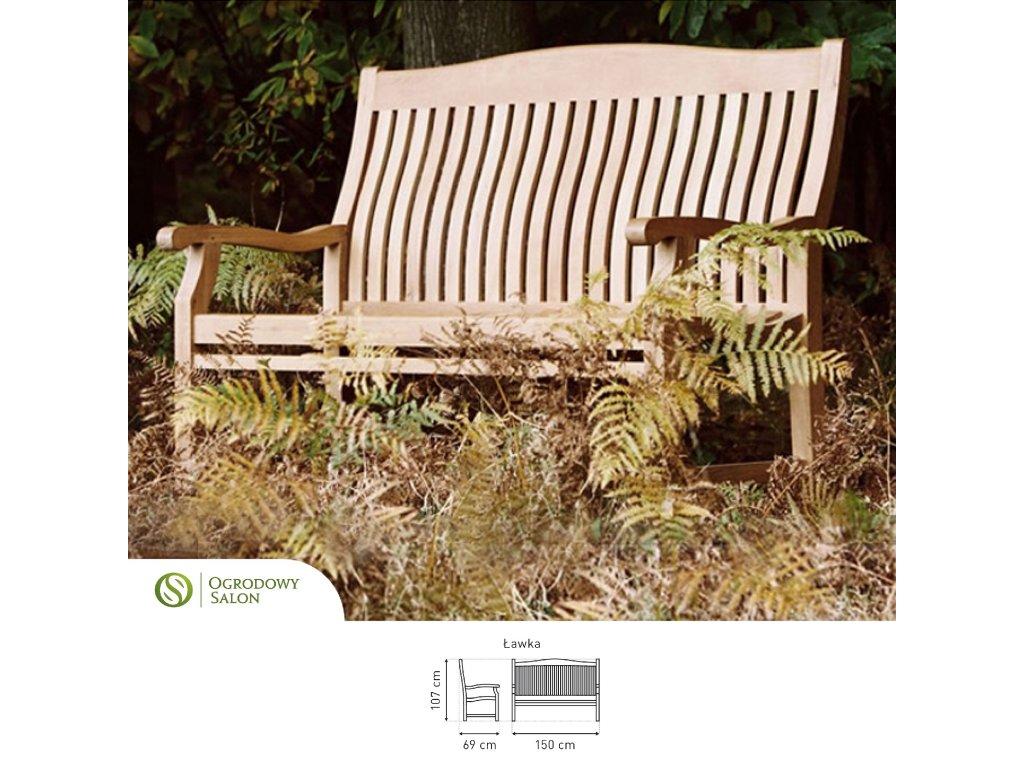 Lavice zahradní dřevěná Teak 150 cm