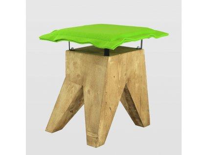 Stolička LOW se zeleným sedákem