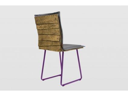 Židle SHINGLE šedá s fialovými nohami