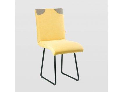 Židle PATCHY žluto/šedá s černými nohami