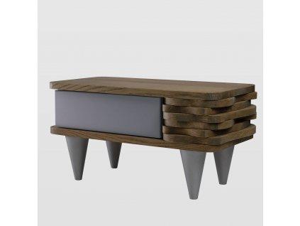 Noční stolek Organique hnědý/stříbrný - levý