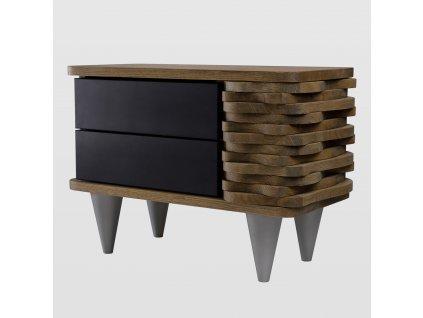 Noční stolek Organique hnědý/černý - pravý