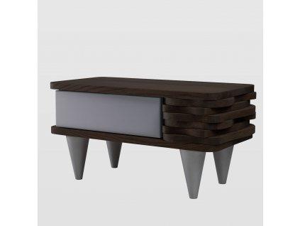 Noční stolek Organique tmavě hnědý/stříbrný - pravý