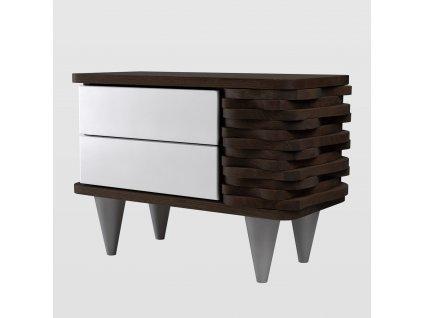 Noční stolek Organique tmavě hnědý/bílý - pravý