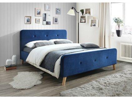 Postel MALMO velvet 160x200 barva tmavě modrá/dub čalounění bluvel 86