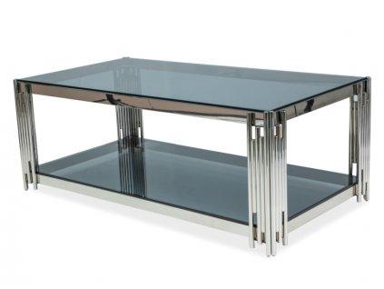 Stolek FOSSIL A 120x60 stříbrný/kouřové sklo