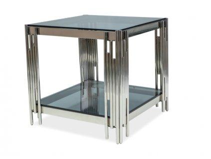 Stolek FOSSIL B 55x55 stříbrný/kouřové sklo