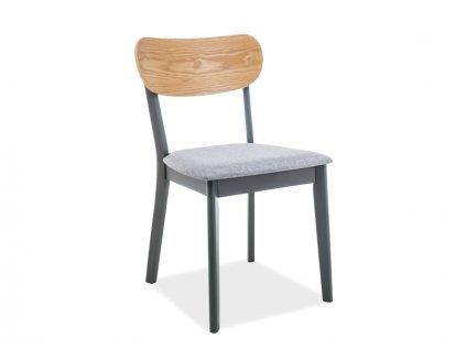 Židle VITRO antracit/dub/šedá polstrování č.115