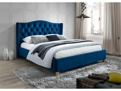 Postel ASPEN velvet 160x200 barva tmavě modrá/dub čalounění bluvel 86