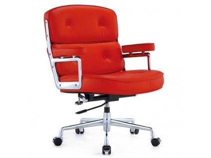 Křeslo kancelářský ICON PRESTIGE PLUS červené - italská přírodní kůže, hliník
