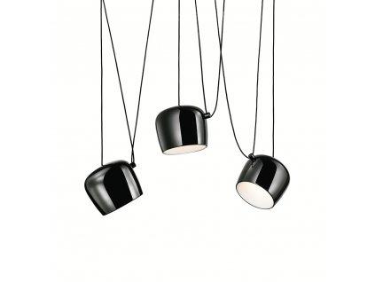 Závěsná lampa EYELET 3 černá - LED, hliník