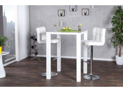 Barový stolek LUCENTE 80x80 bílý - MDF